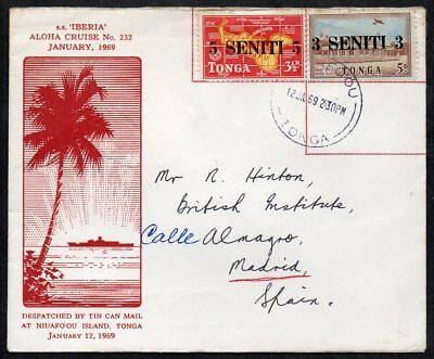 Tonga - 1969 Tin Can Mail Cover to Spain, SS Iberia
