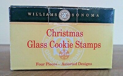 Williams Sonoma Glass Christmas Cookie Stamps Set Bells Star Snowflake Holly