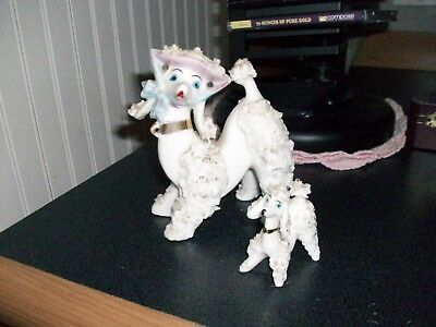 Vintage spaghetti art French mother poodle dog w/ puppy white gold trim Japan