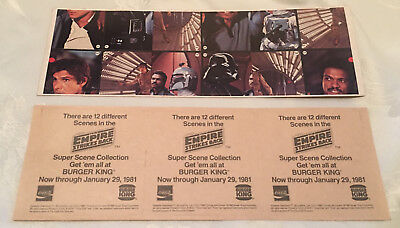 """Burger King """"the Empire Strikes Back"""" Super Scene Collection Stickers, Set Of 12"""