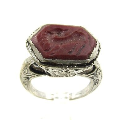 Authentic Post Medieval Silver Ring W/ Intaglio Carnelian Beast - E993