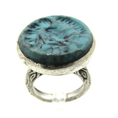 Authentic Post Medieval Silver Ring W/ Intaglio Bust - E994