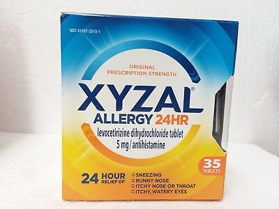 Lot of 3 XYZAL ALLERGY 24 hour , 5MG - 35 TABLETS , EXPIRES; 10/2019