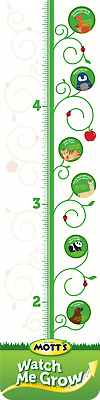 Kids Child's Room WATCH ME GROW Animals Growth Chart by MOTT'S Green Yellow
