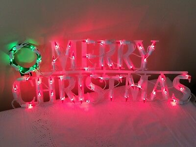 Lighted Merry Christmas Sign Indoor Red & Green Lights White Plastic