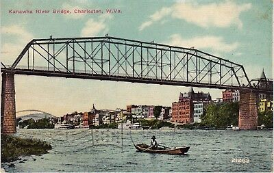 Kanawha River Bridge, Charleston, West Virginia, postmarked 1913    F