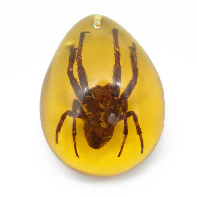 2.4x1.6x0.6'' Spider Insect Stone Inclusion Resin Amber Pendant Necklace