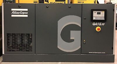 Atlas Copco GA15FF Rotary Screw Compressor With Dryer & Filters! 15Kw! 91Cfm!