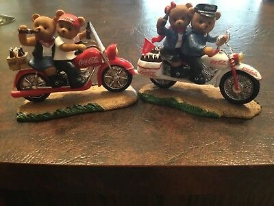 Coca Cola collection bears on motorcycles