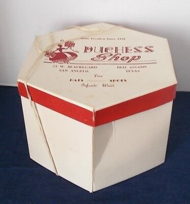 Vintage 1950s/1960s Ladies' Cardboard Hat Box-Duchess Shop-San Angelo, Texas