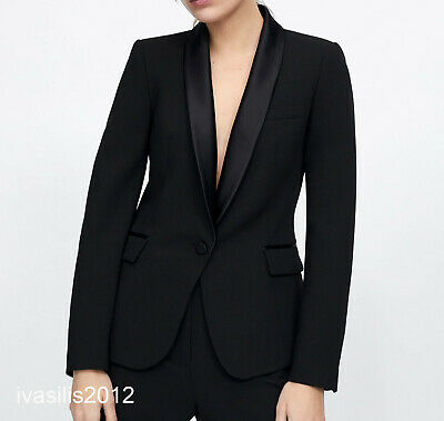 b86da41cf06 Zara New Woman Tuxedo Contrast Shawl Collar Blazer Jacket Black Xs-Xl  2124 783