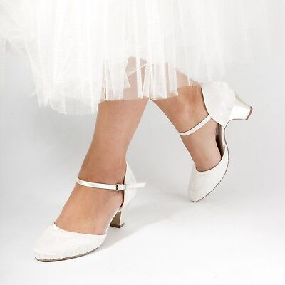 BNWB Ivory Pink Paradox Adore Dyeable Lace Ankle Strap Wedding Shoes UK 7/ EU 40