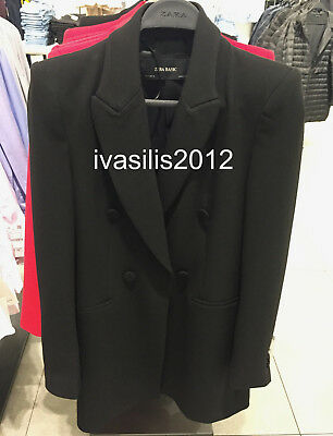 a5431204 Zara New Woman Tailored Frock Coat Double-Breasted Blazer Black Xs-Xl 7806/