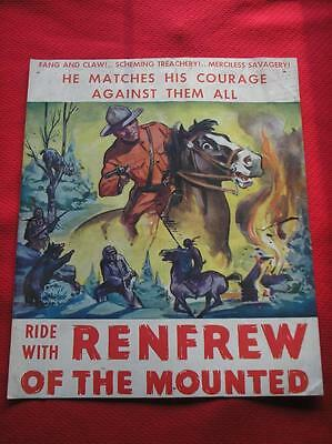 Original Vintage 1936 Ride With Renfrew Of The Canada Mounted Police Poster