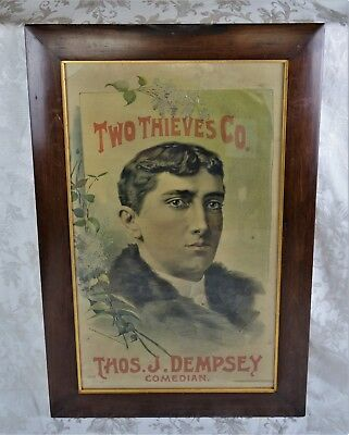 Antique 19th Century Entertainment Poster Two Thieves Co Thos J Dempsey Comedian