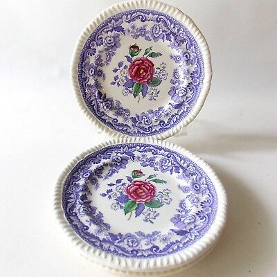 Spode Mayflower Bread And Butter Plates Four(4) Lavender Flowers White Ironstone