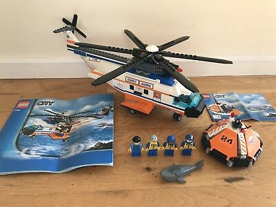 Lego City 7738 Coast Guard Helicopter Life Raft With Minifigs