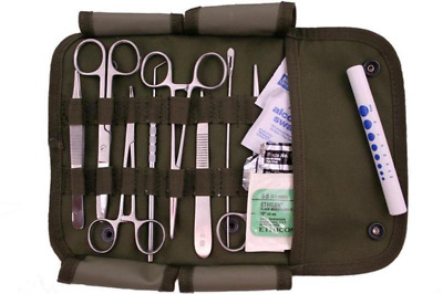 MILITARY Surgical Kit  Stainless Steel Instruments & Sutures 16pc Olive Vintage