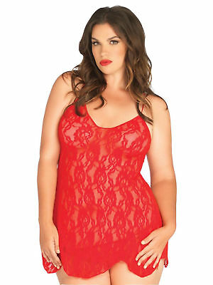 Womens Plus Size Flared Lingerie Sexy Rose Lace Halter Chemise Top Queen
