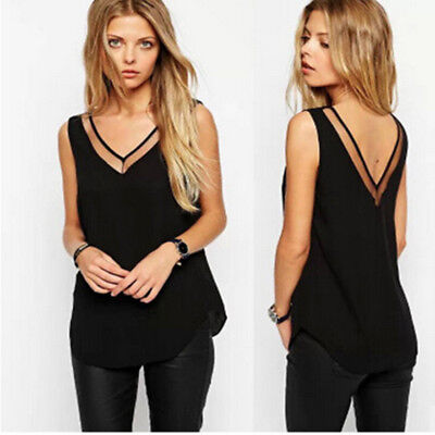 Casual Tank Summer Blouse Womens Vest T-Shirt V-Neck Loose  Sleeveless Lace Tops