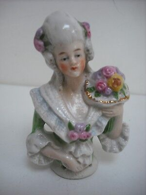 "Pretty 3"" China Pincushion Half Doll With Moulded Flowers And Clothes 18434"