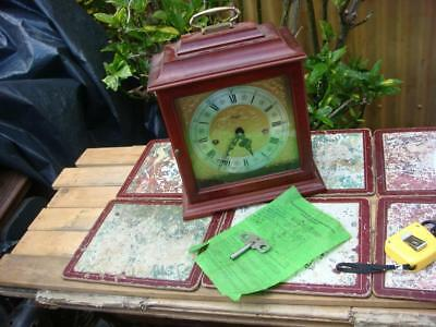 AN Old  Antique Vintage Small Floating Balance   8 Day Westminster Mantle Clock