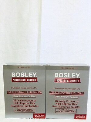 Bosley Hair Regrowth Treatment Minoxidil Solution 5% for Men - 2 Pack - 4 Months