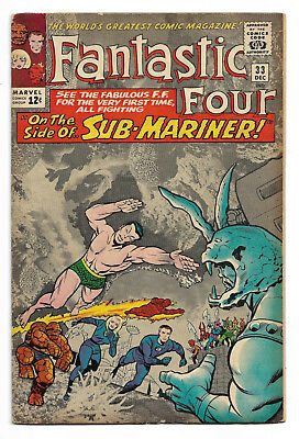 Fantastic Four #33 Dec 1964 Very Good Plus (4.5) Qualified. 1st Attuma