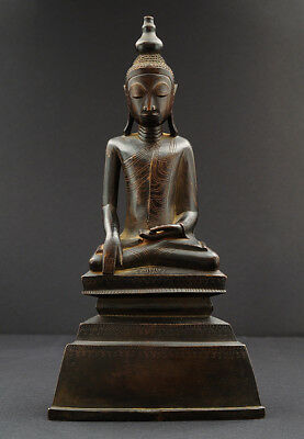 Seated Buddha, bronze, typical Shan, Tai Yai, Burma (Myanmar), Asian Art
