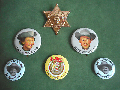 Vintage Lot Buttons Roy Rogers Fossil Hopalong Cassidy Metal Badge Pink Western