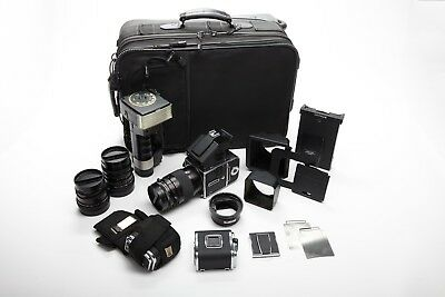 Hasselblad 503CX SLR Film Camera with Zeiss 50, 80 +120mm Lenses + Prism + More