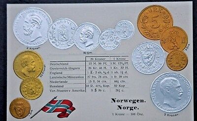 Coins of Countries Postcard-Norway-Embossed Foil Coins Conv Table