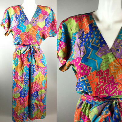 Vtg 80s Stewart Sport Short Sleeve Wrap Top Rainbow Jumpsuit 100% Silk Size XS