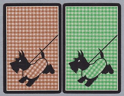 2 Single VINTAGE Swap/Playing Cards DOGS SCOTTIES CHECK JACKETS 'HOOT MON DB-8-6