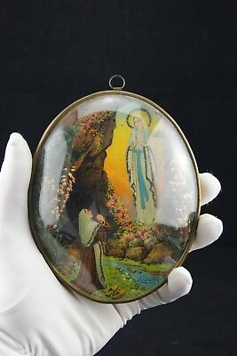 † 20Th Bvm St Bernadette Our Lady Of Lourdes Vocable Bombed Glass Frame France †
