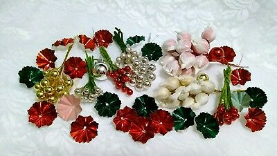 Vintage Christmas *Mercury Glass Picks*Tin Flowers*Corsage*Lot of 118