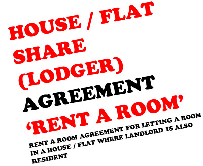 Rent A Room Lodger Agreement For House / Flat (Resident Landlord) Email Only