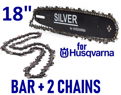 "18"" Guide Bar & 2 Chainsaw Chains for HUSQVARNA 136 137 440  72 x 325 1.5"