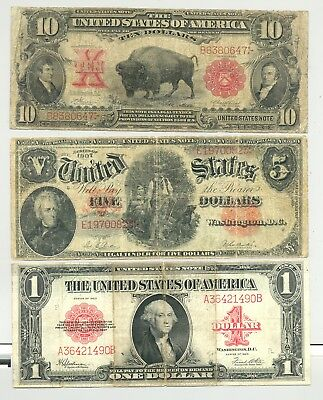 $10 1901 Bison, $5 1907 Woodchopper and $1 1923 Cogwheel United States Notes