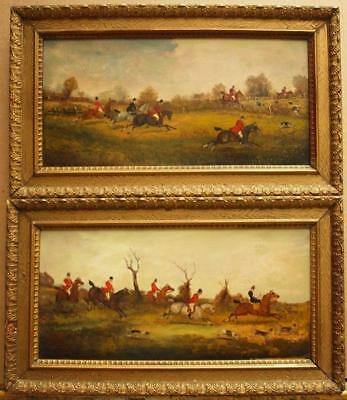 PAIR 19th Century FOX HUNTING SCENES WITH HOUNDS Antique Oil Paintings