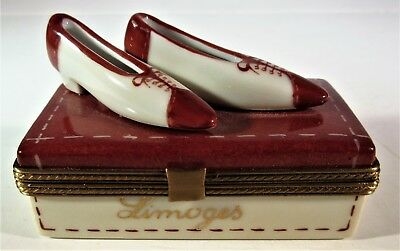 Rochard Limoges Trinket Brown / Cream Shoe Box With Attached Shoes France