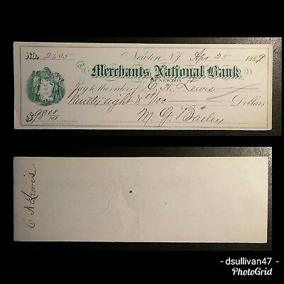 The Merchants National Bank Of Newton Check New Jersey 1889