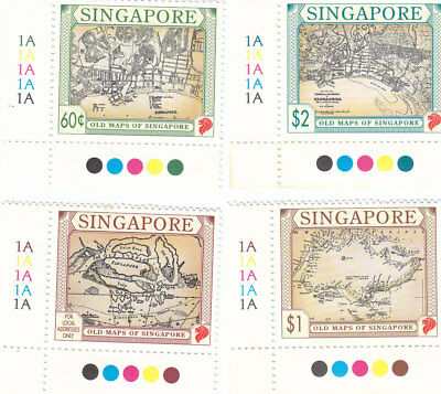 "Singapore, 1998, ""maps Of Singapore"" Stamp Set Mint Nh Fresh Good Condition"