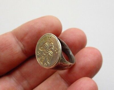 ancient late Roman-Medieval silver gilt ring,nicely carved bird with spread wing