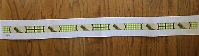 Hand-painted Needlepoint Canvas Belt/Pheasants/Plaid & Checked Sections Between