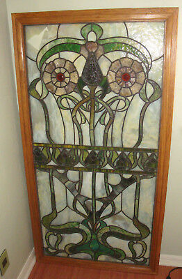 Framed Antique 5' Art Nouveau Deco Green Floral Stained Glass Window Panel Bevel
