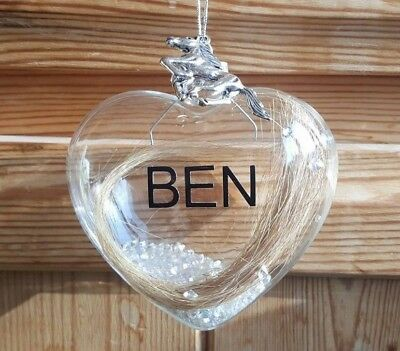 Glass Pet Memorial Pet Loss Keepsake Bauble - Horse Dog Cat Hair