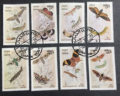 "8 nice stamps moths ""State of Oman"""