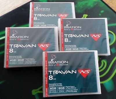 4 Stück NEU OVP Imation Travan NS 8GB Data Cartridge, Datenkassette 4gb 8gb 3M