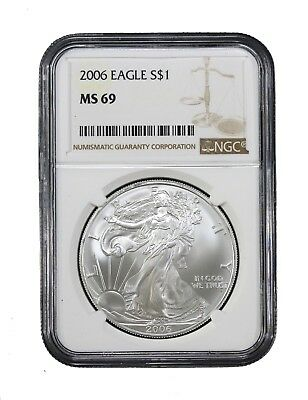 2006 American Silver Eagle $1 NGC MS-69 Certified Graded Brilliant Uncirculated